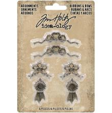 Tim Holtz Idea-Ology Metal Adornments 6/Pkg - Ribbons & Bows