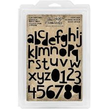 Tim Holtz Idea-Ology Cling Foam Stamps 38/Pkg - Cutout LC Alpha & Numbers 1-1.5
