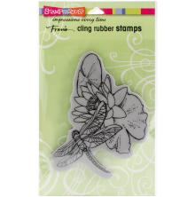 Stampendous Cling Stamp 5x3.75 - Dragonfly Lily