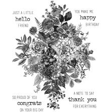 Tim Holtz Cling Stamps 7X8.5 - Glorious Bouquet W/Grid Block