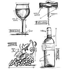 Tim Holtz Cling Stamps 7X8.5 - Wine Blueprint