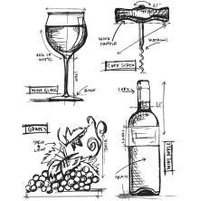 Tim Holtz Cling Stamps 7X8.5 - Wine Blueprint