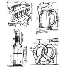 Tim Holtz Cling Stamps 7X8.5 - Beer Blueprint