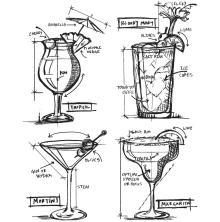 Tim Holtz Cling Stamps 7X8.5 - Cocktails Blueprint