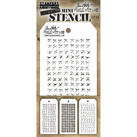 Tim Holtz Mini Layered Stencil Set 3/Pkg - Set #33