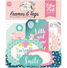Echo Park Imagine That Girl Cardstock Die-Cuts 33/Pkg - Frames & Tags