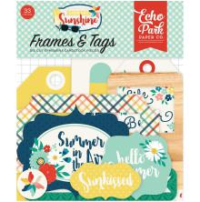 Echo Park Good Day Sunshine Cardstock Die-Cuts 33/Pkg - Frames & Tags