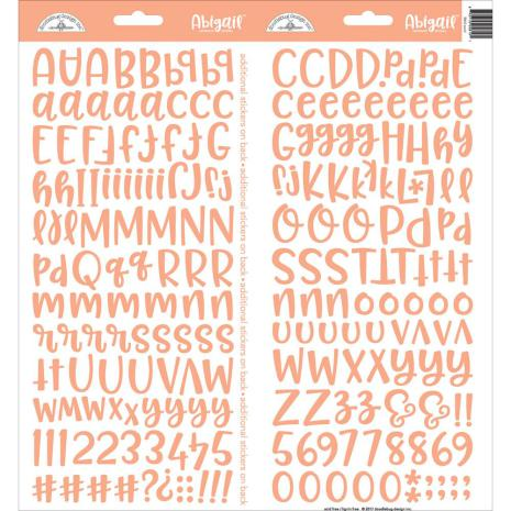 Doodlebug Abigail Cardstock Alpha Stickers 6X13 - Coral