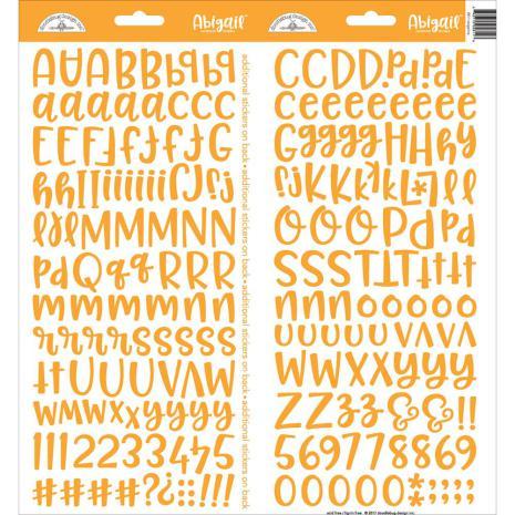 Doodlebug Abigail Cardstock Alpha Stickers 6X13 - Tangerine