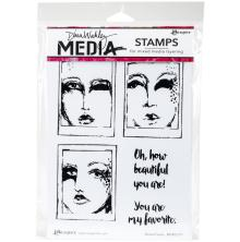 Dina Wakley Media Cling Stamps 6X9 - Boxed Faces