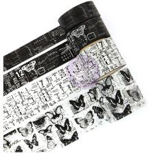 Prima Traveler´s Journal Vintage Decorative Tape 4/Pkg - Black & White
