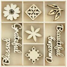 Kaisercraft Wooden Flourishes 45/Pkg - Beautiful