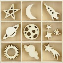 Kaisercraft Wooden Flourishes 55/Pkg - Star & Moon