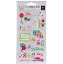 Pink Paislee Puffy Stickers - Confetti Wishes Icons & Phrases