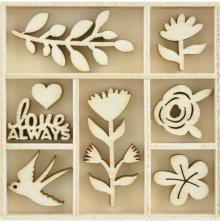 Kaisercraft Wooden Flourishes 40/Pkg - Blooming