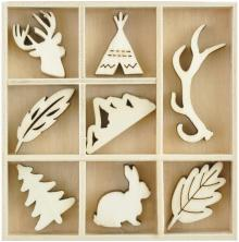 Kaisercraft Wooden Flourishes 40/Pkg - Woodlands