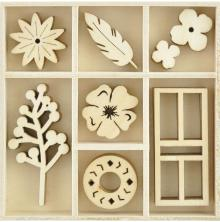 Kaisercraft Wooden Flourishes 40/Pkg - Collected