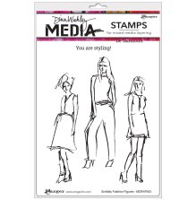 Dina Wakley Media Cling Stamps 6X9 - Scribbly Fashion Icons