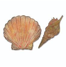 Tim Holtz Sizzix Bigz Die w/Texture Fades Embossing Folder - Seashells