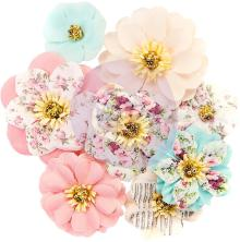 Prima Misty Rose Fabric Flowers 8/Pkg - Earleen