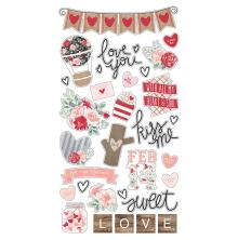 Simple Stories Chipboard Stickers 6X12 - Kissing Booth