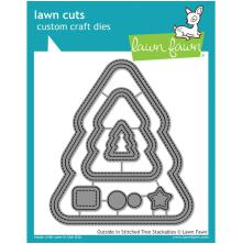 Lawn FAwn Custom Craft Stackables Dies - Outside In Stitched Christmas Tree