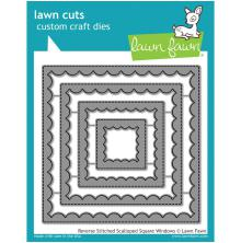 Lawn Fawn Custom Craft Die - Reverse Stitched Scalloped Square Window