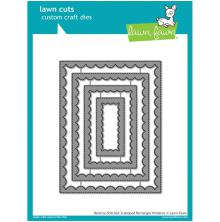 Lawn Fawn Custom Craft Die - Reverse Stitch Scallop Rectangle Window