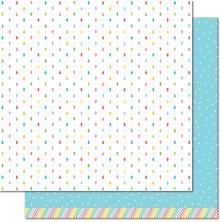 Lawn Fawn Really Rainbow Christmas Cardstock 12X12 - Blue Snowfall