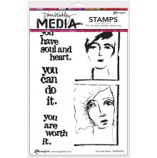 Dina Wakley Media Cling Stamps 6X9 - Soul & Heart