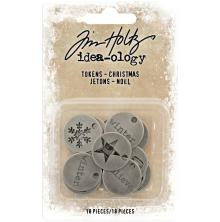 Tim Holtz Idea-Ology Metal Typed Tokens 18/Pkg - Christmas