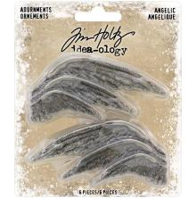 Tim Holtz Idea-Ology Metal Adornments 1.5 - 2.75 6/Pkg - Angelic