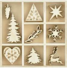 Kaisercraft Themed Mini Wooden Flourishes 45/Pkg - Nordic