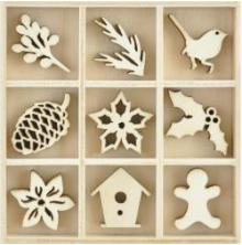 Kaisercraft Themed Mini Wooden Flourishes 45/Pkg - Festive Foliage