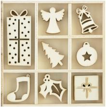 Kaisercraft Themed Mini Wooden Flourishes 40/Pkg  - Ornaments