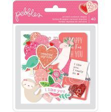 Pebbles Ephemera Cardstock Die-Cuts 40/Pkg - Loves Me