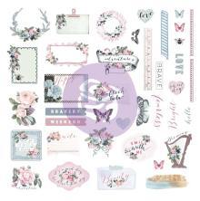 Prima Marketing Ephemera Cardstock & Sticker Sheet 65/Pkg - Poetic Rose