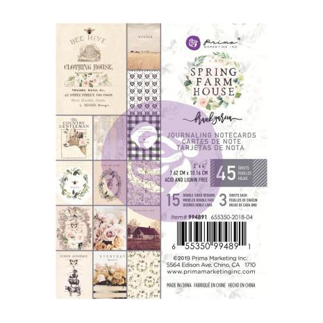 Prima Marketing Journaling Cards Pad 3X4 45/Pkg - Spring Farmhouse