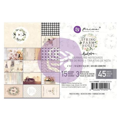 Prima Marketing Journaling Cards Pad 4X6 45/Pkg - Spring Farmhouse