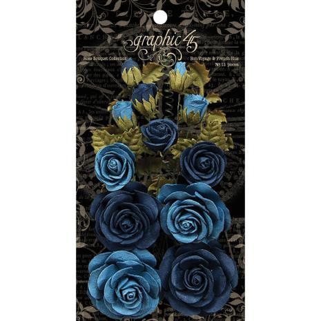 Graphic 45 Staples Rose Bouquet Collection 15/Pkg - Bon Voyage & French Blue