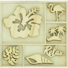 Kaisercraft Themed Mini Wooden Flourishes 30/Pkg - Relax