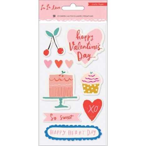 Crate Paper Embossed Puffy Stickers 10/Pkg - La La Love