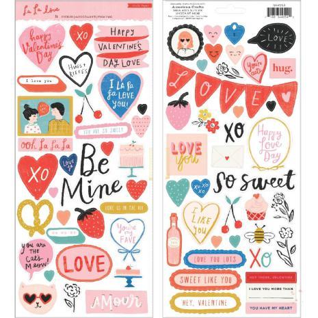 Crate Paper Cardstock Stickers 75/Pkg - La La Love