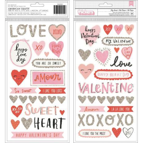 Crate Paper La La Love Thickers Stickers 61/Pkg La La Love - My Sweet Phrase & I
