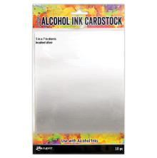 Tim Holtz Alcohol Ink Cardstock 5X7 10/Pkg - Brushed Silver