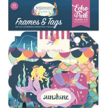 Echo Park Mermaid Dreams Cardstock Die-Cuts 33/Pkg - Frames & Tags