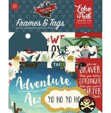 Echo Park Pirate Tales Cardstock Die-Cuts 33/Pkg - Frames & Tags