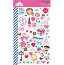 Doodlebug Mini Cardstock Stickers 2/Pkg - French Kiss