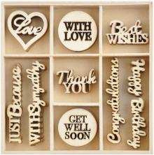Kaisercraft Wood Mini Themed Embellishments - With Love