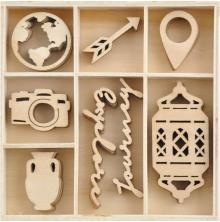Kaisercraft Wood Mini Themed Embellishments - Journey